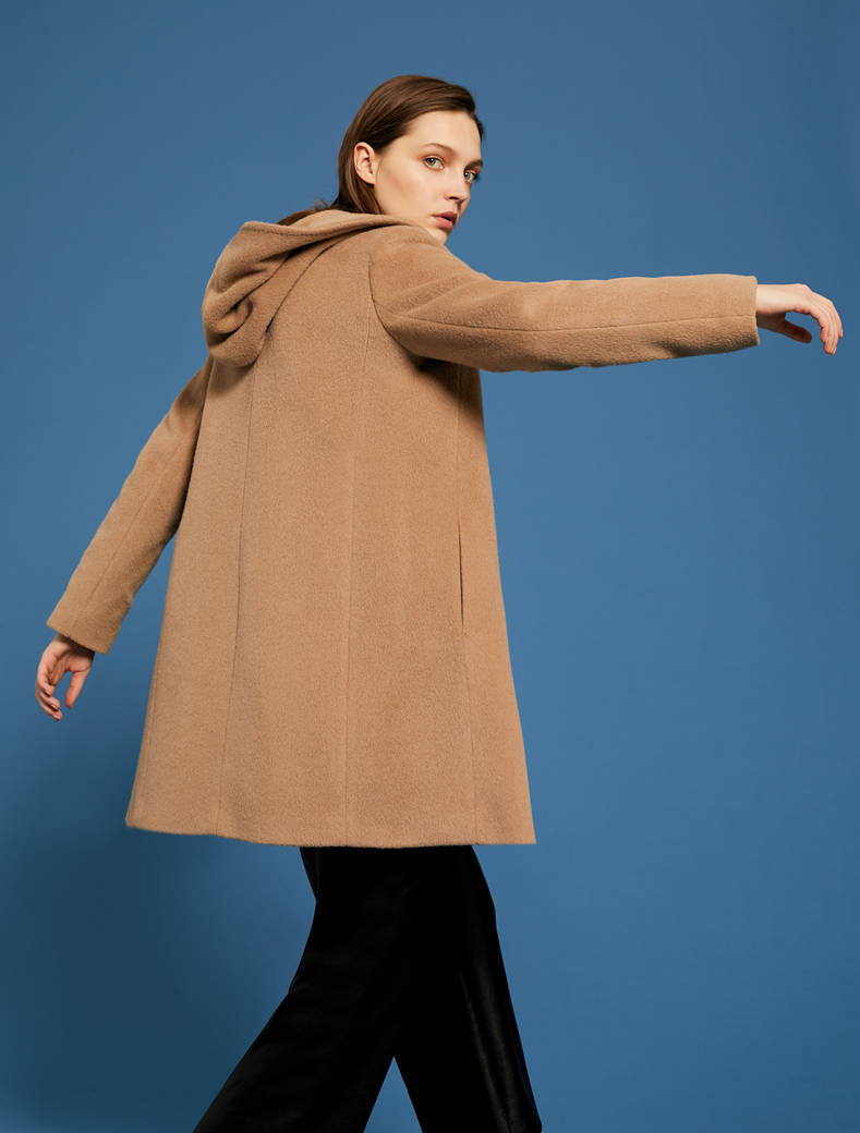 Short beaver cloth coat - camel - pennyblack