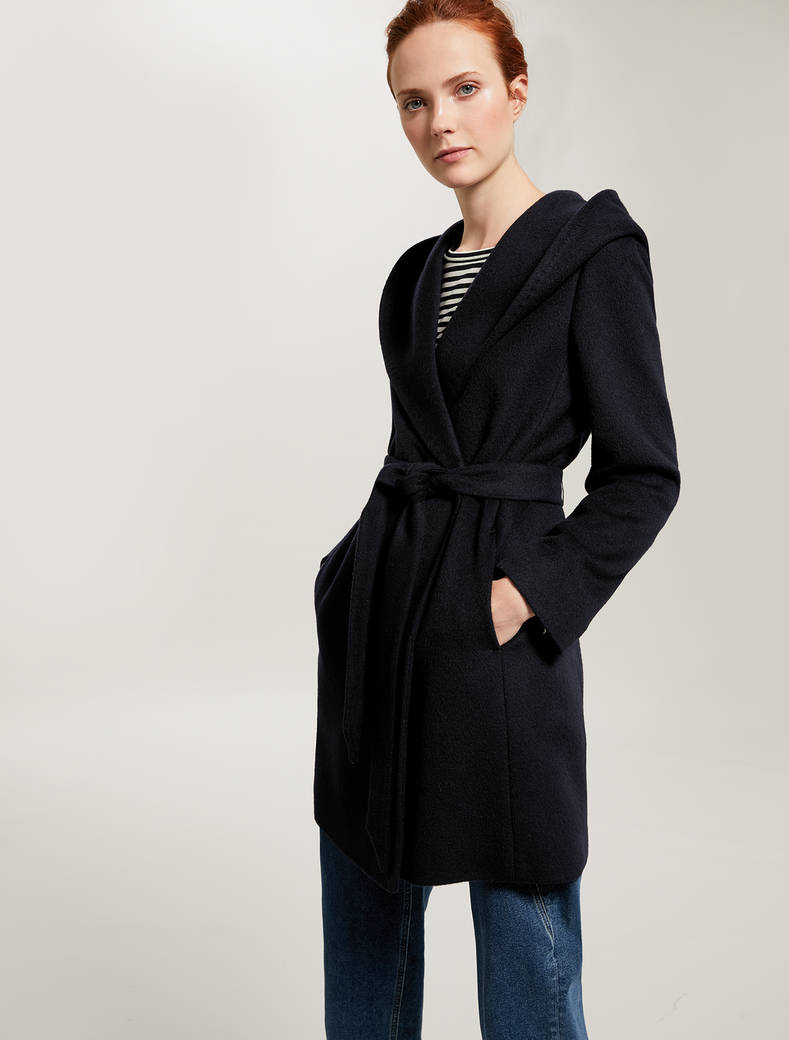 Short beaver cloth coat - navy blue - pennyblack