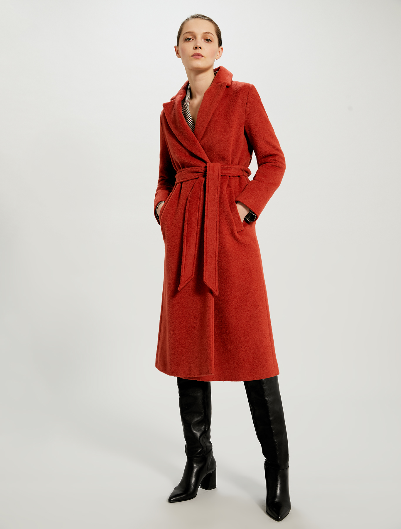 Mid-length beaver cloth coat - terracotta - pennyblack