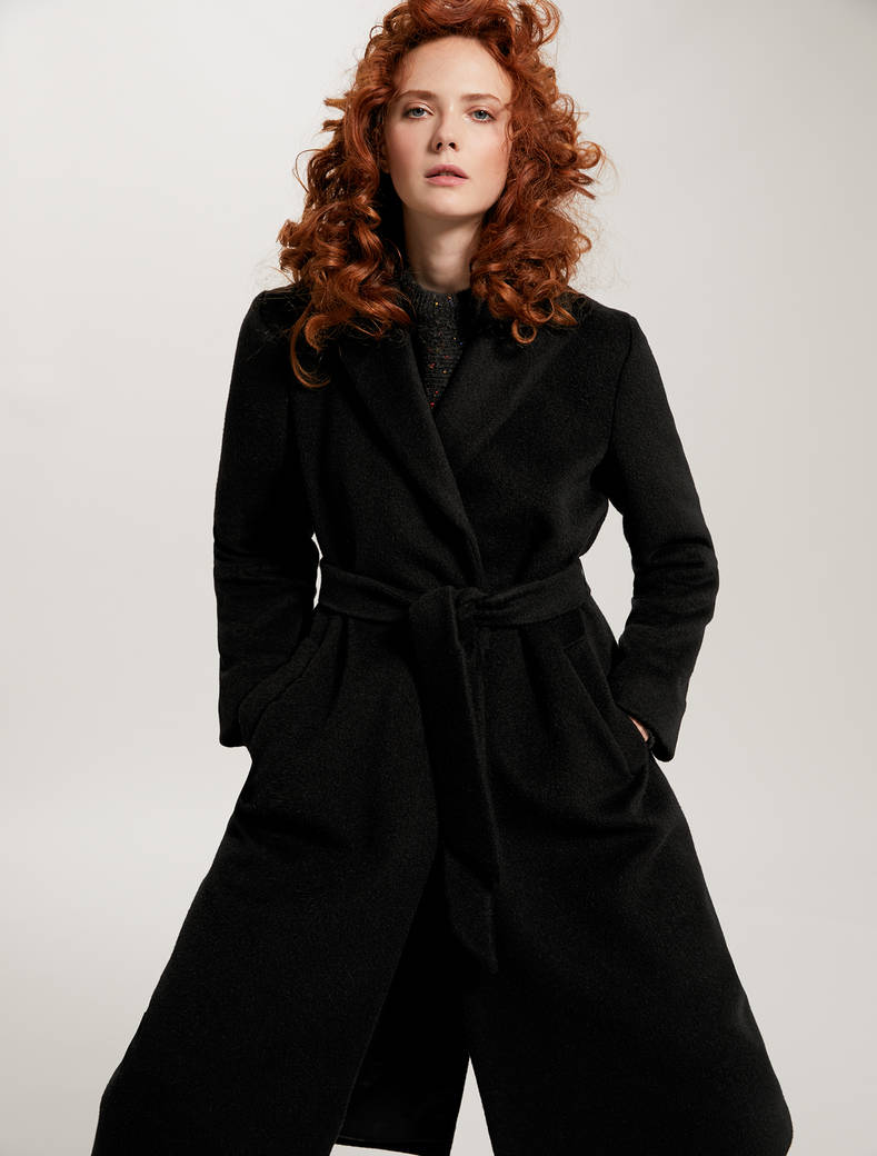 Mid-length beaver cloth coat - black - pennyblack