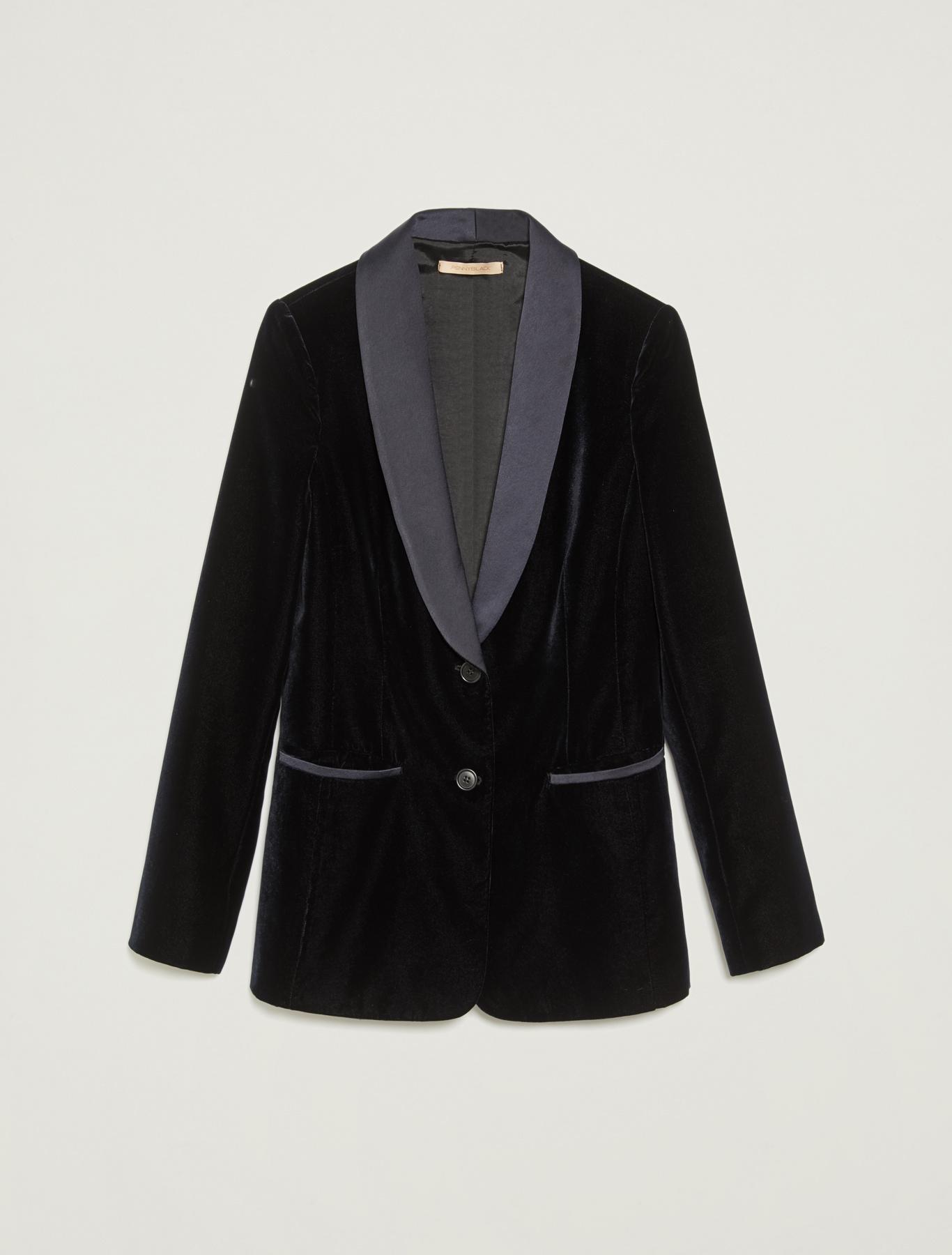 Tuxedo blazer in velvet and satin - navy blue - pennyblack