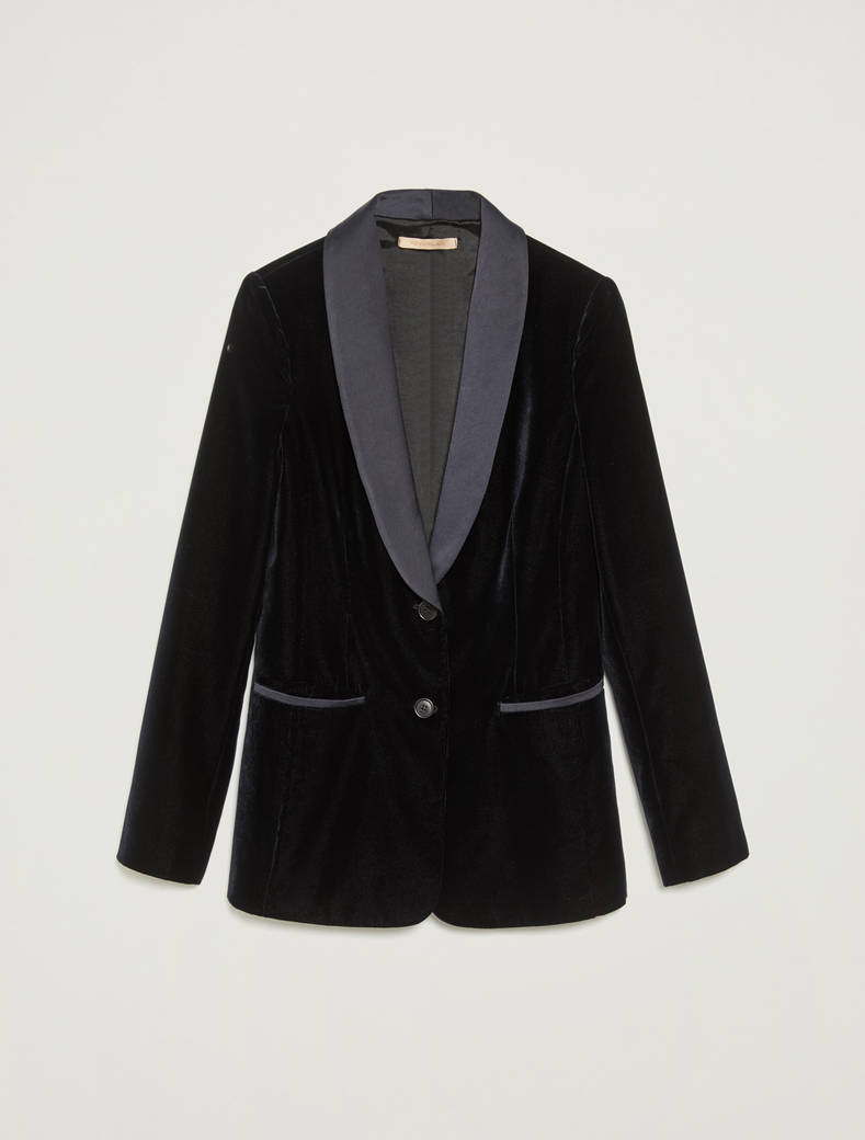 Tuxedo blazer in velvet and satin - navy blue - pennyblack