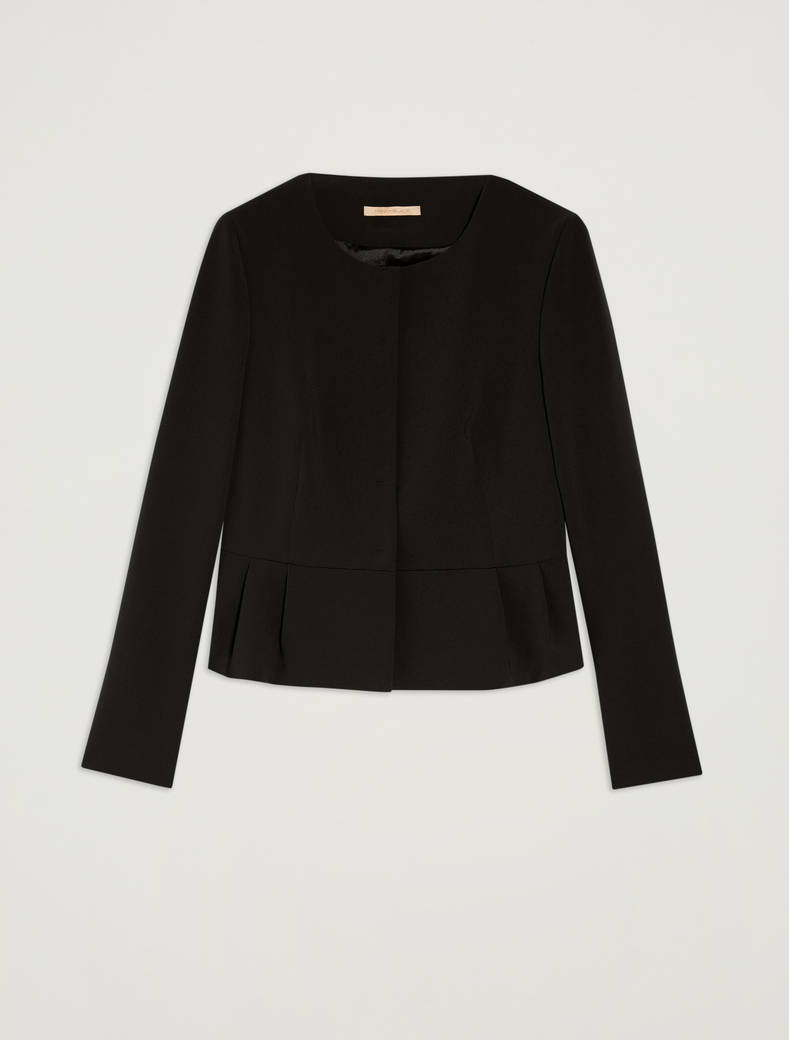 Slim-fit pleated peplum jacket - black - pennyblack