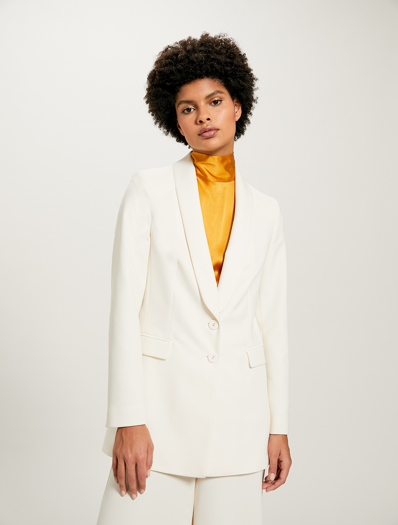Smoking jacket with satin lapels - ivory - pennyblack