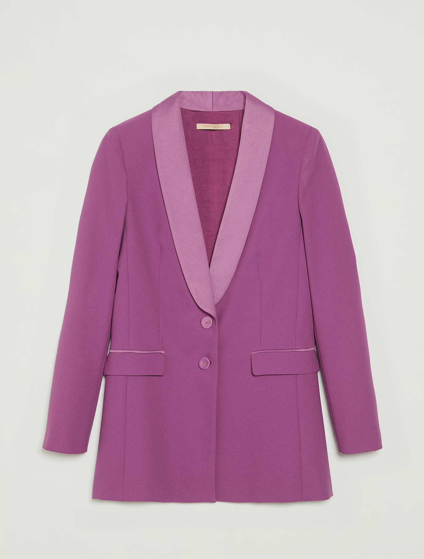 Smoking jacket with satin lapels - purple - pennyblack