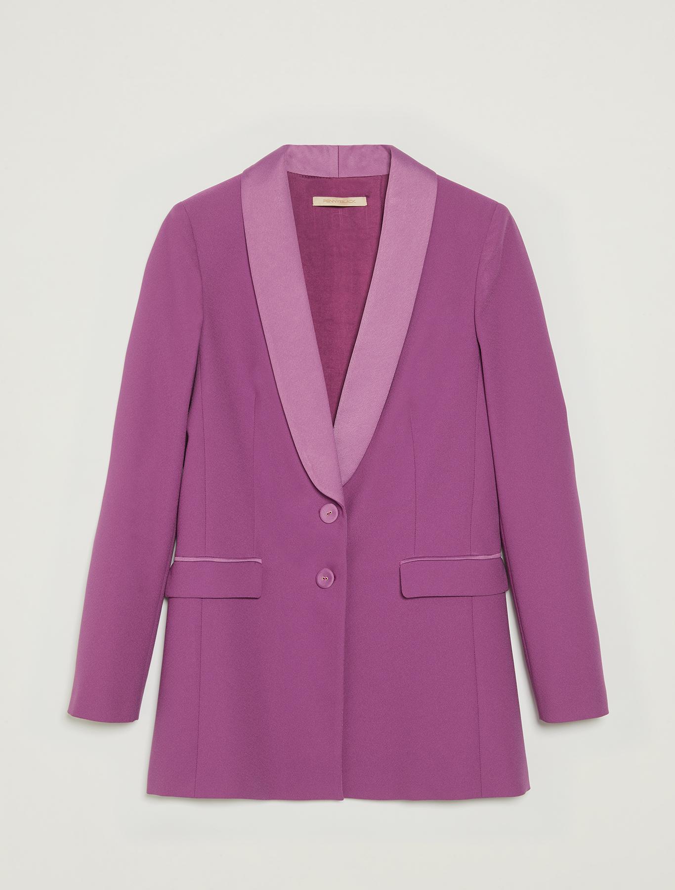 Blazer tuxedo con revers in raso - viola - pennyblack