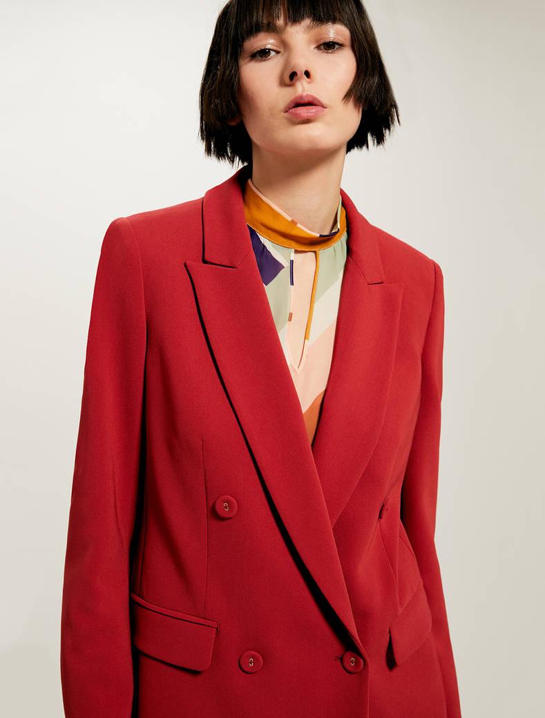 Blazer doppiopetto con cintura - rosso - pennyblack