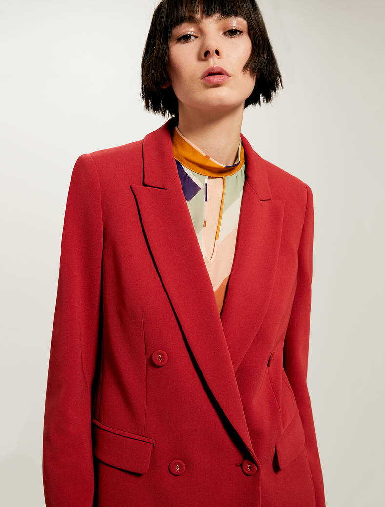 Double-breasted blazer with belt - red - pennyblack