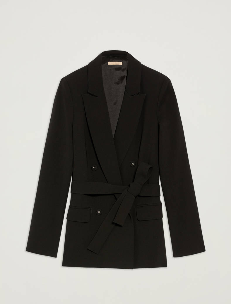 Double-breasted blazer with belt - black - pennyblack