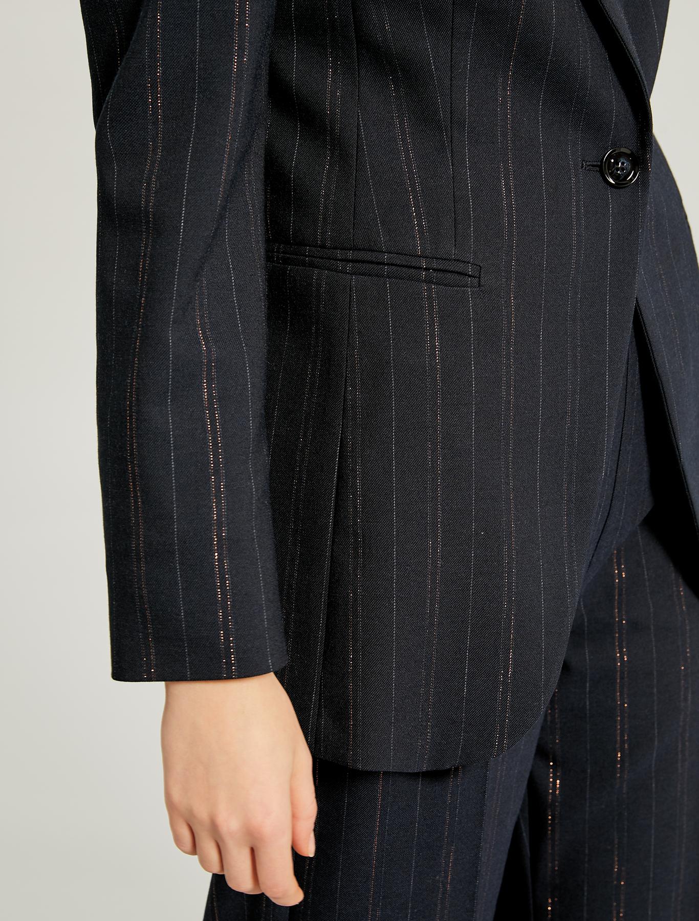 Lamé pinstripe blazer - navy blue pattern - pennyblack