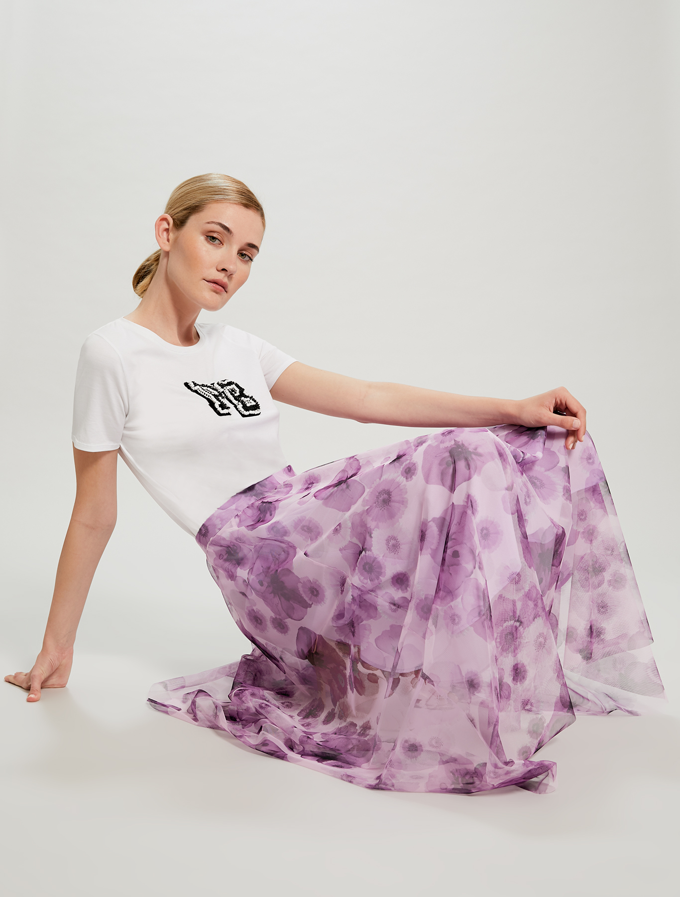Floral tulle maxi skirt - lilac pattern - pennyblack