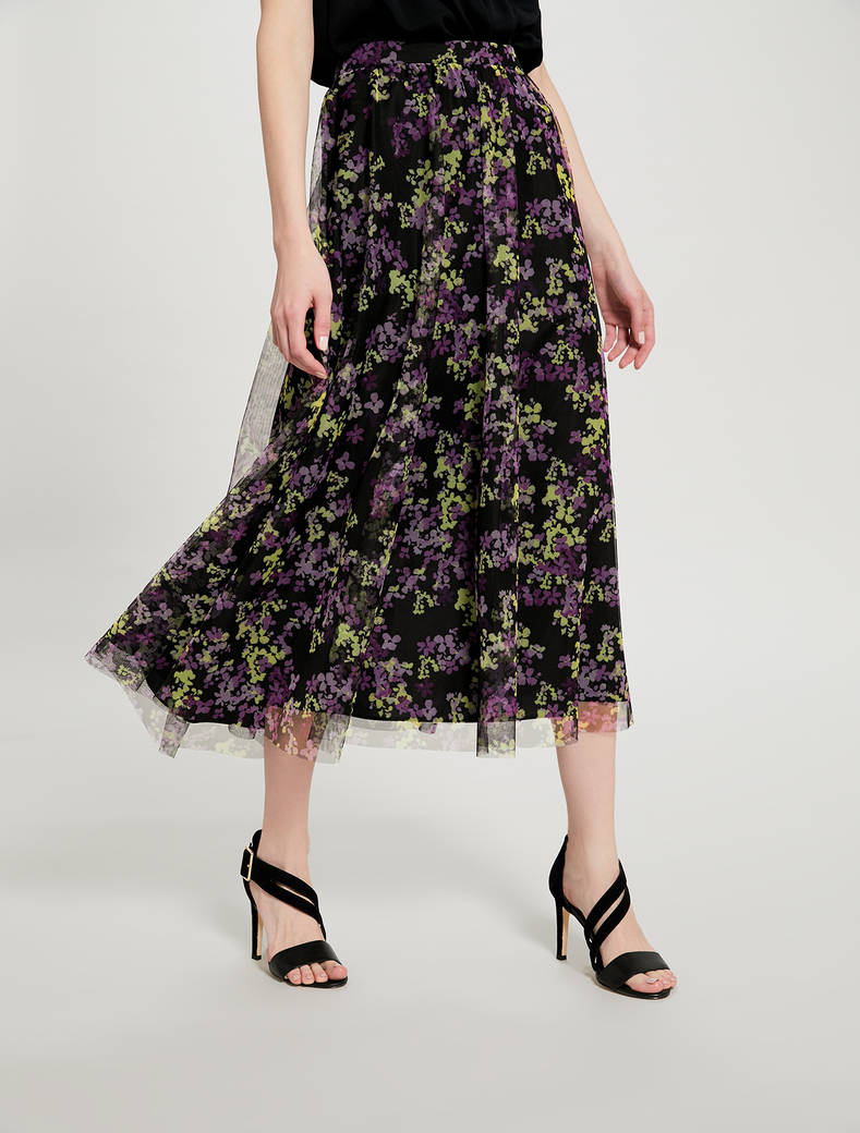 Floral tulle maxi skirt - black pattern - pennyblack