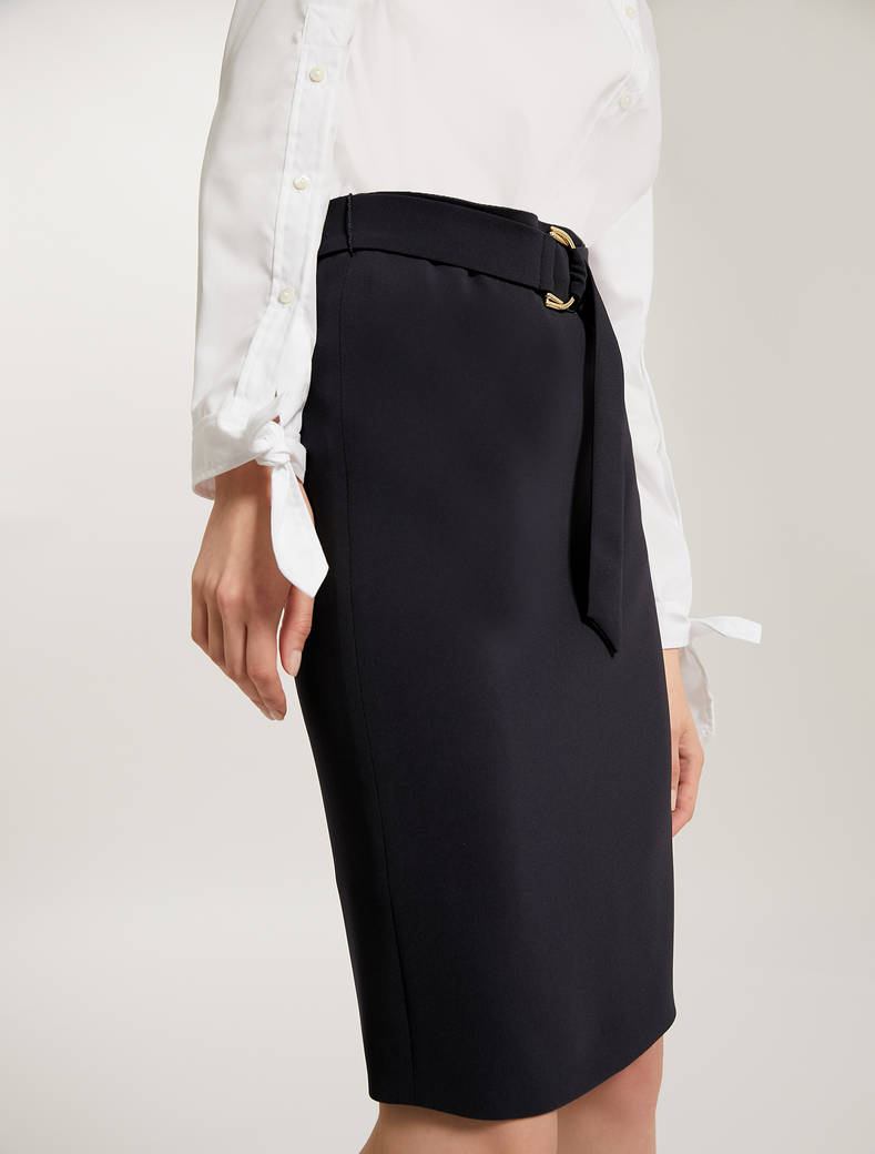 Belted pencil skirt - navy blue - pennyblack