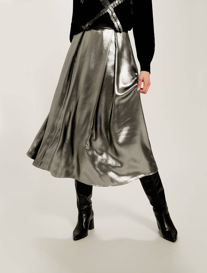 Laminated georgette skirt - silver - pennyblack
