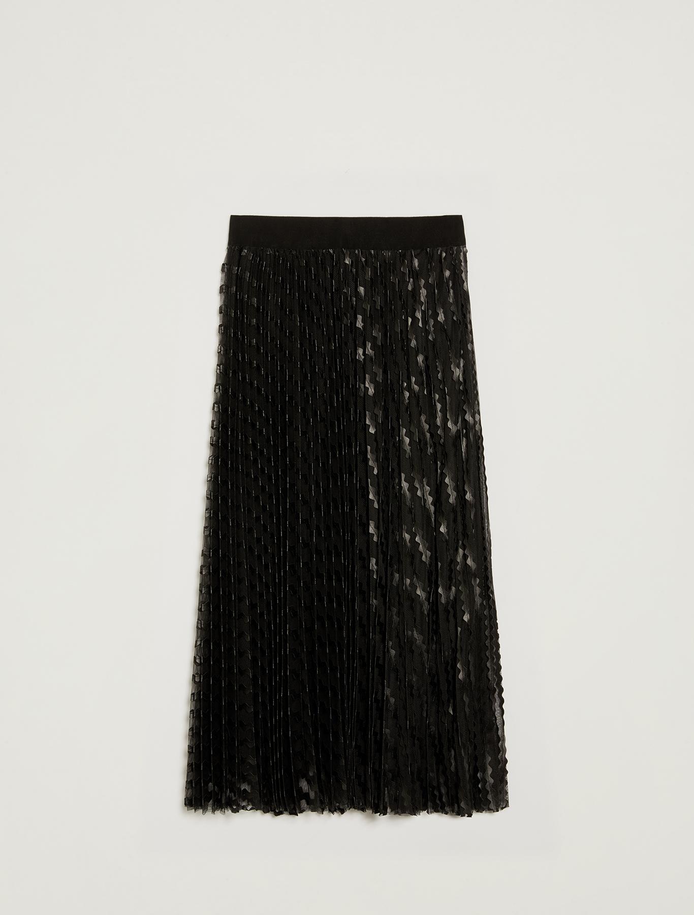 Tulle skirt with appliqués - black - pennyblack