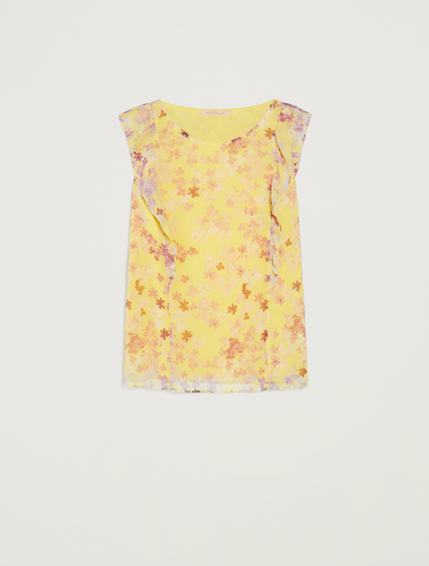 Floral-print flounce top - soft yellow pattern - pennyblack
