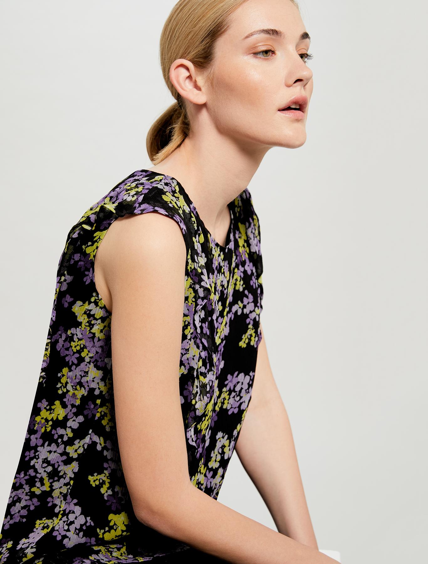 Floral-print flounce top - black pattern - pennyblack