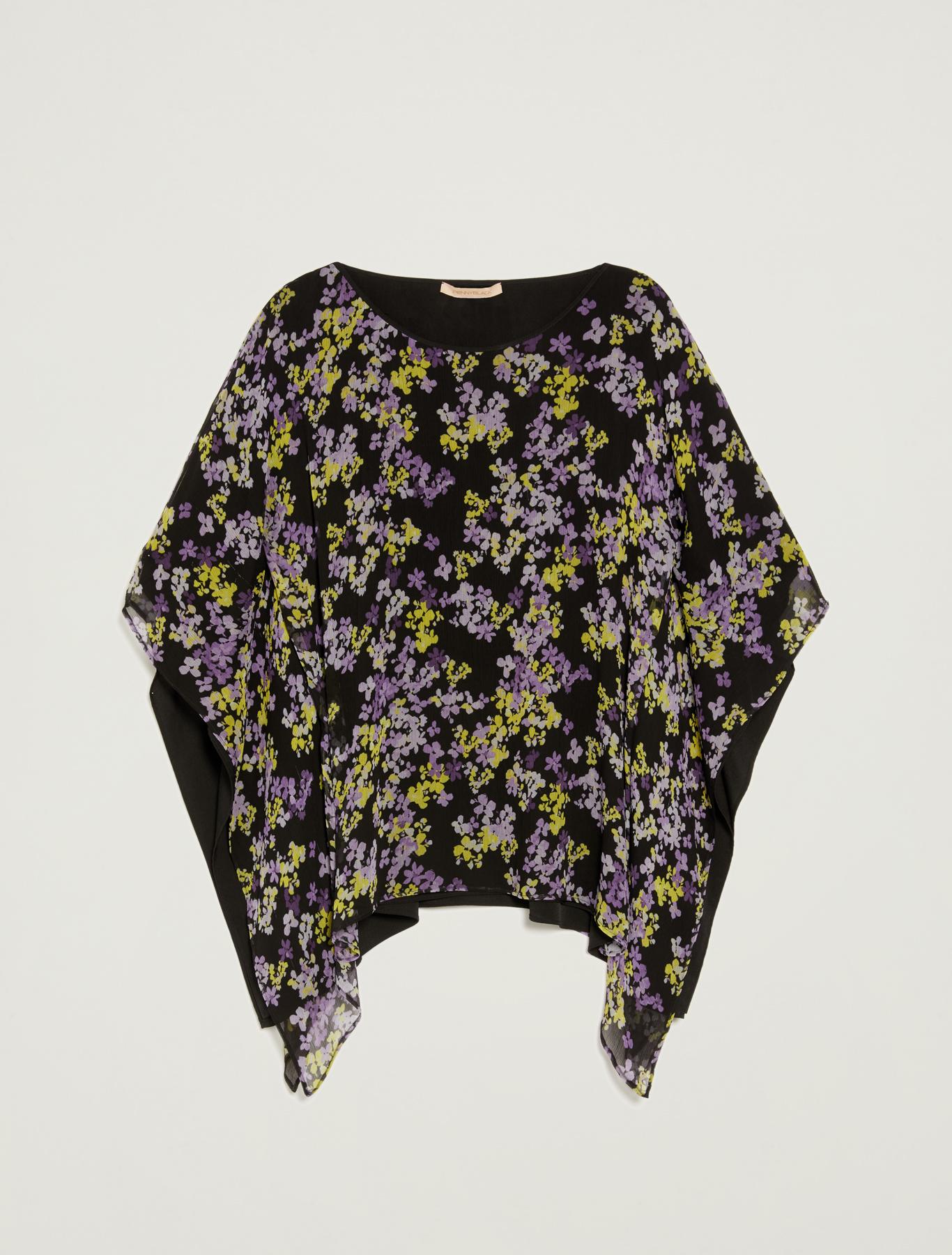 Blusa kimono a doppio strato - fantasia nero - pennyblack