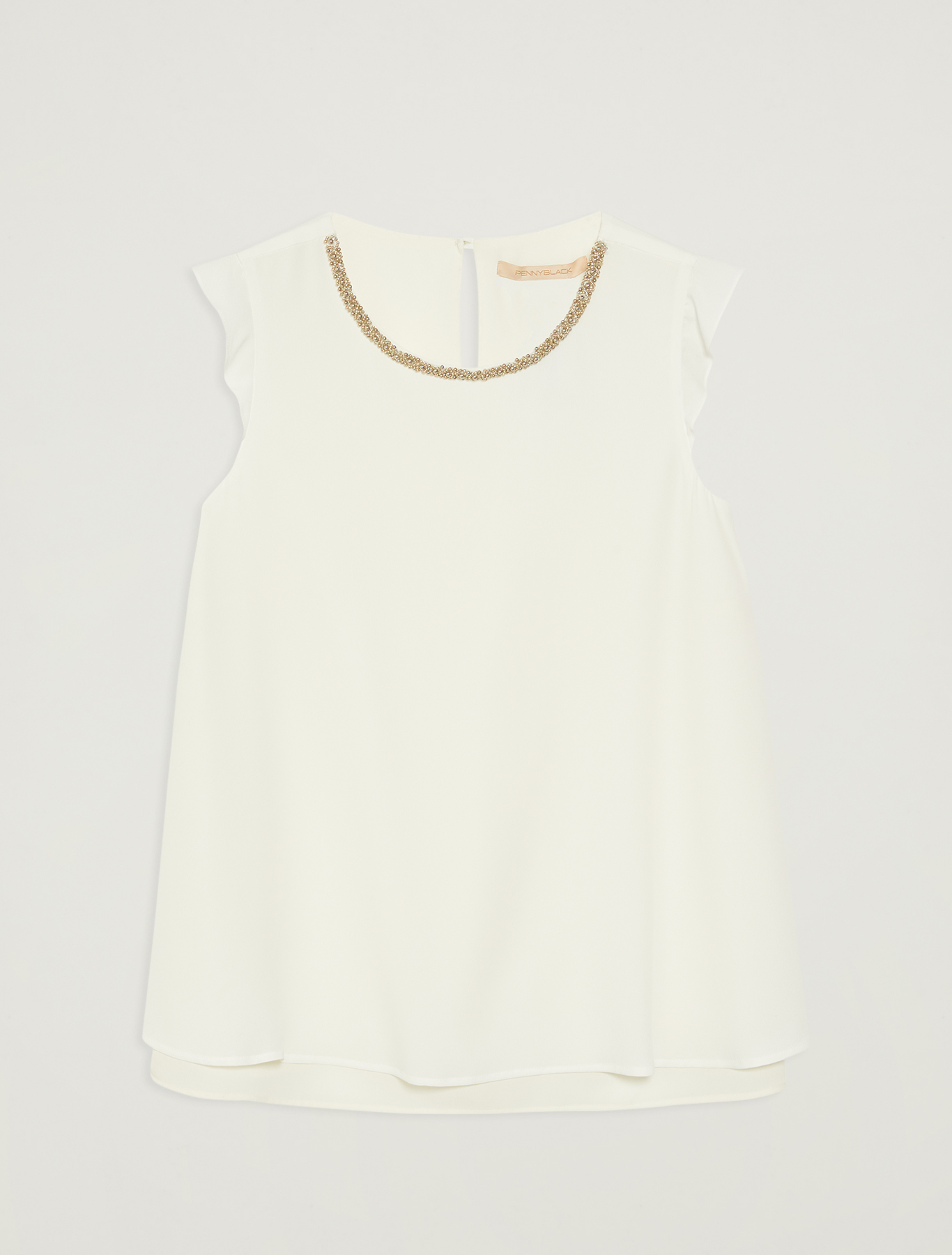 Crepe top with bijou embroidery - ivory - pennyblack
