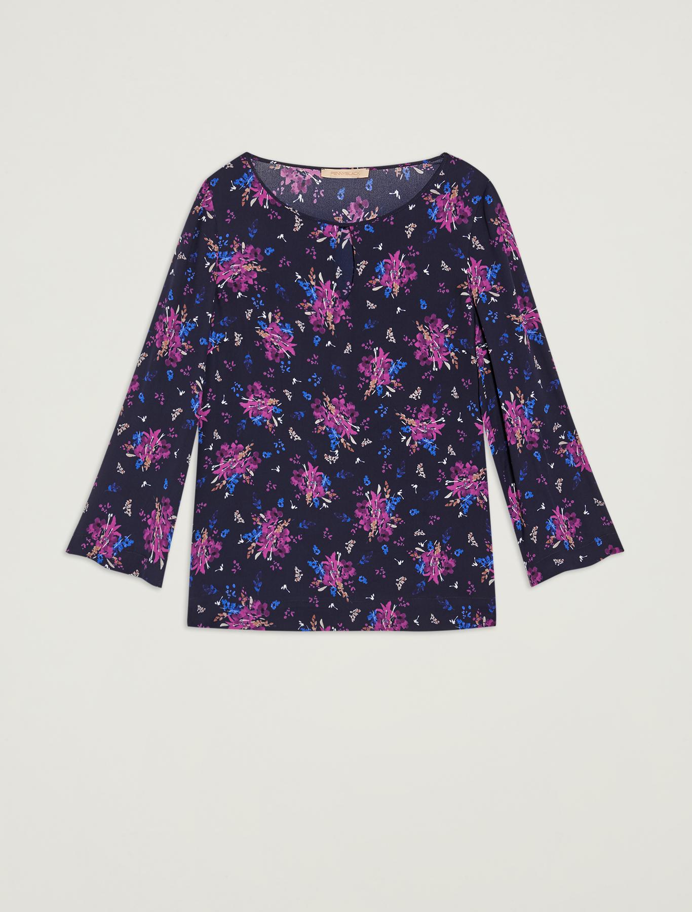Floral georgette blouse - navy blue pattern - pennyblack