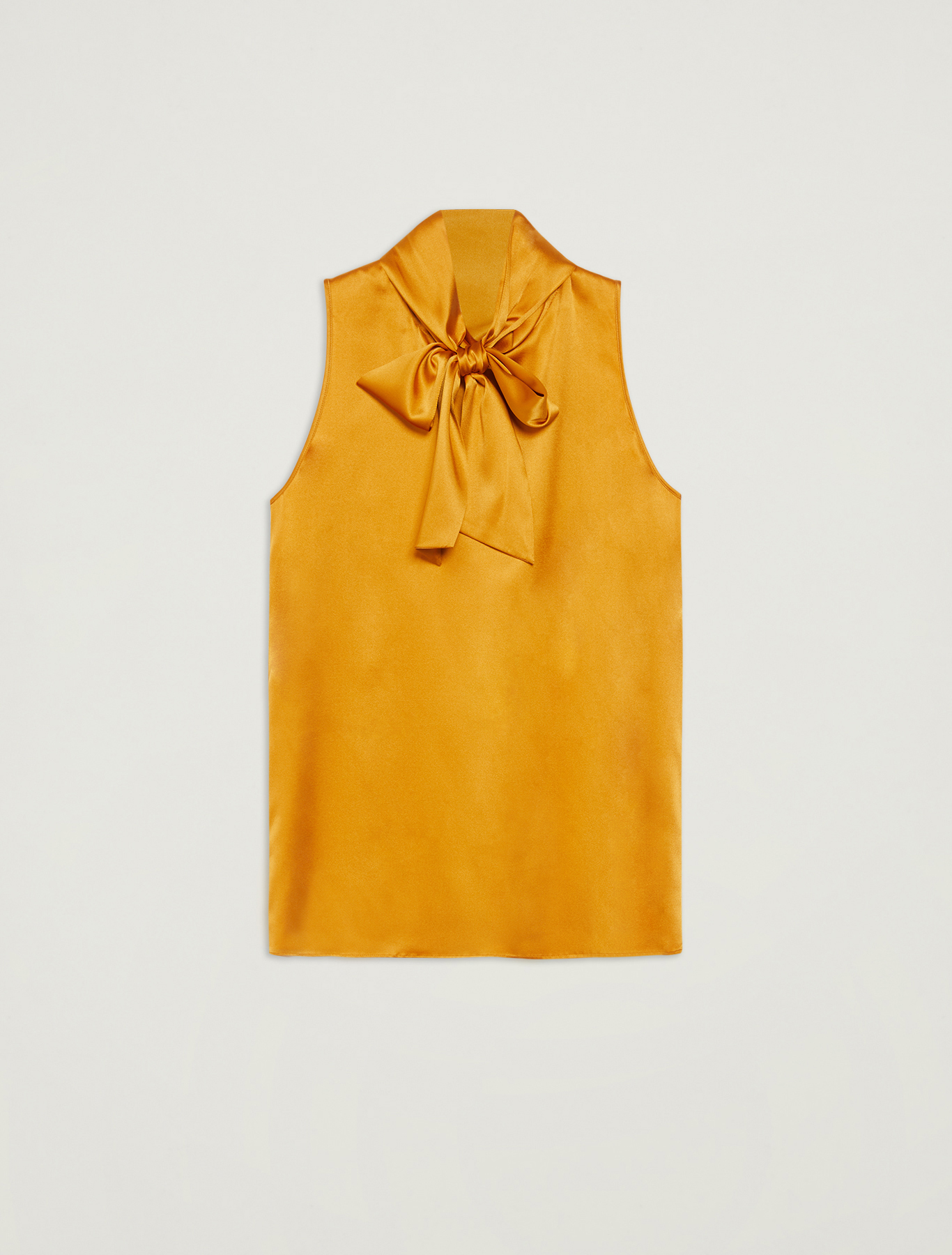 Silk top with neck bow - mustard - pennyblack