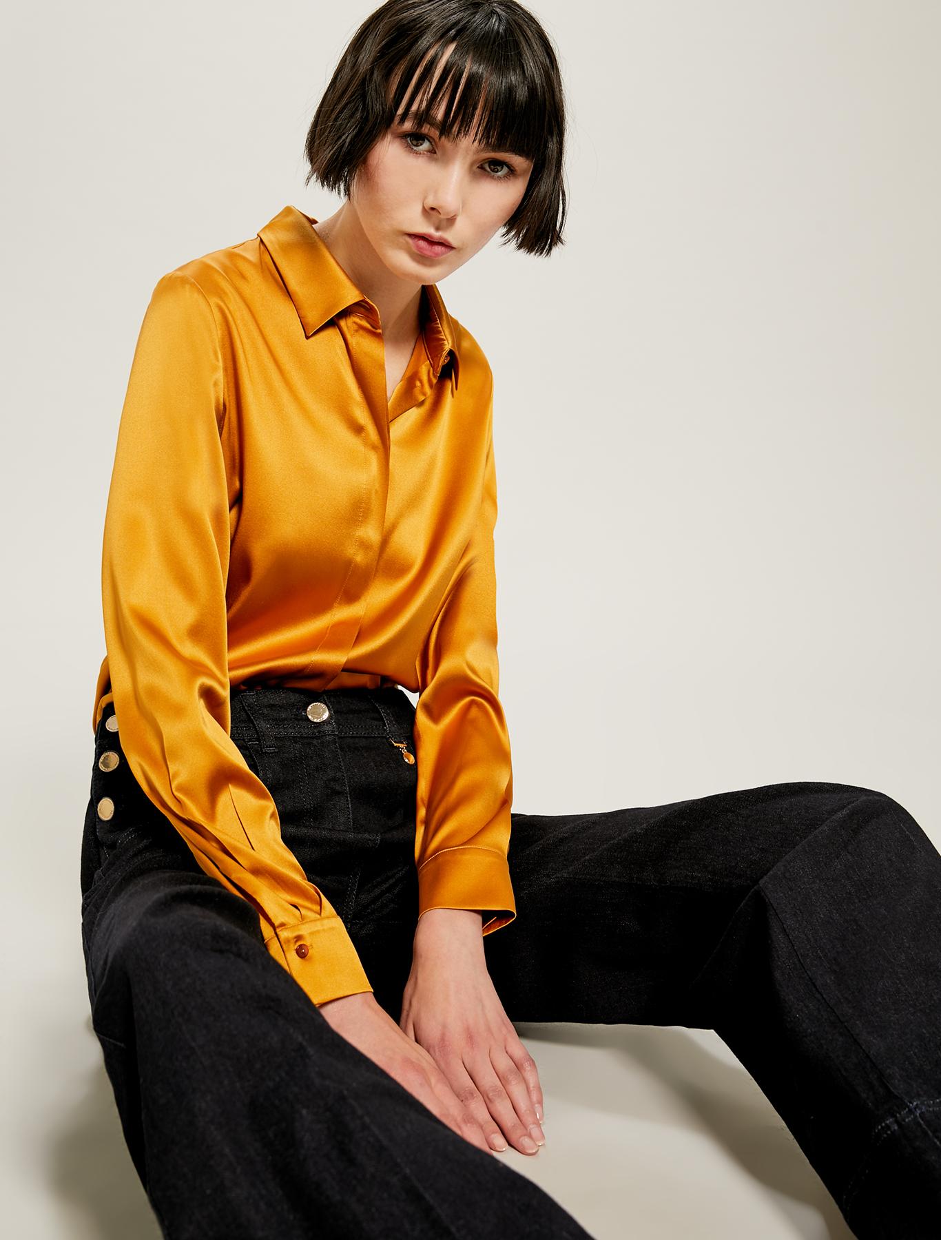Camicia in raso di seta - senape - pennyblack