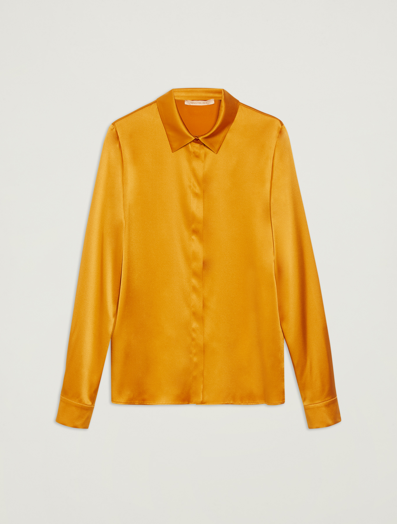 Silk satin shirt - mustard - pennyblack