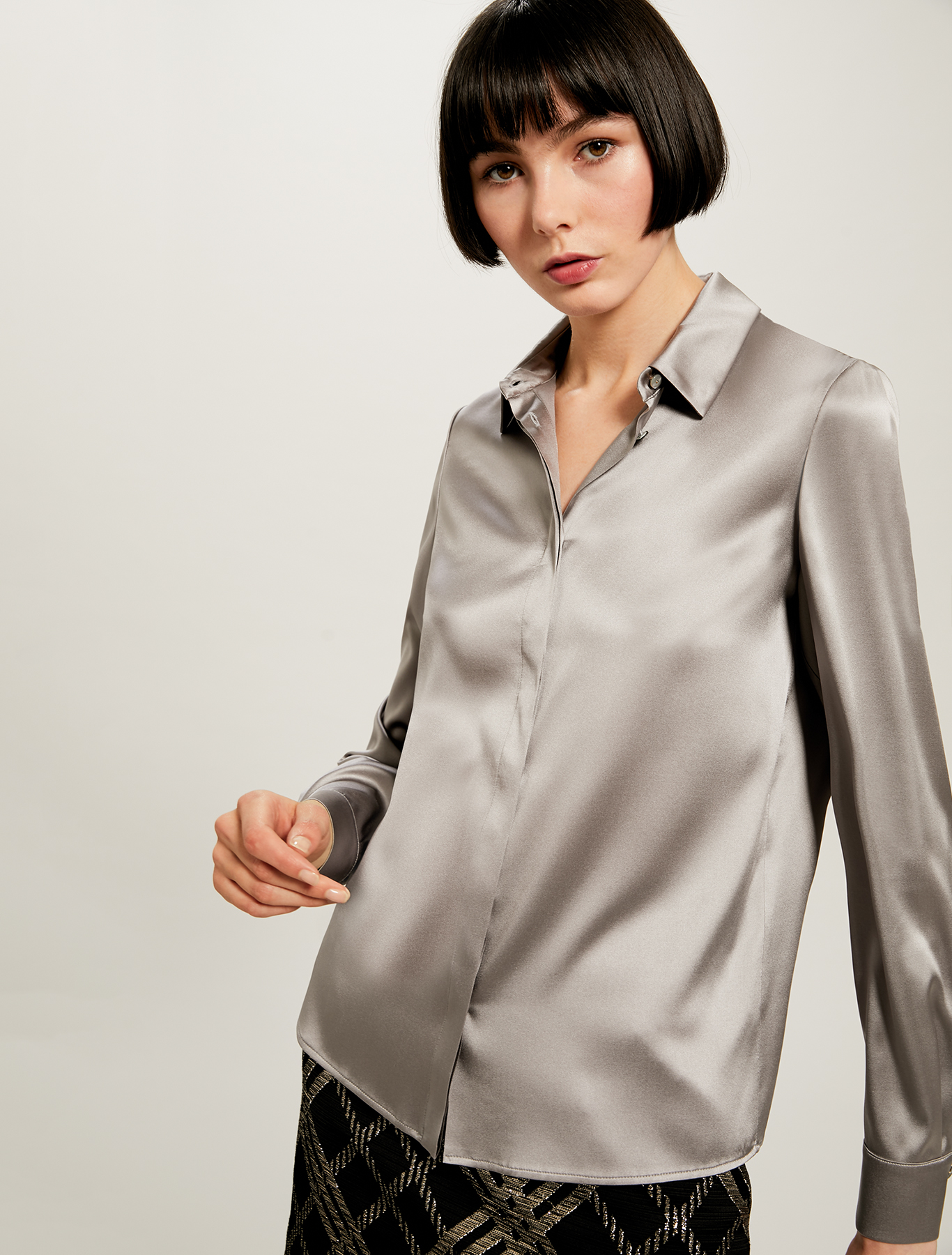 Silk satin shirt - pearl grey - pennyblack
