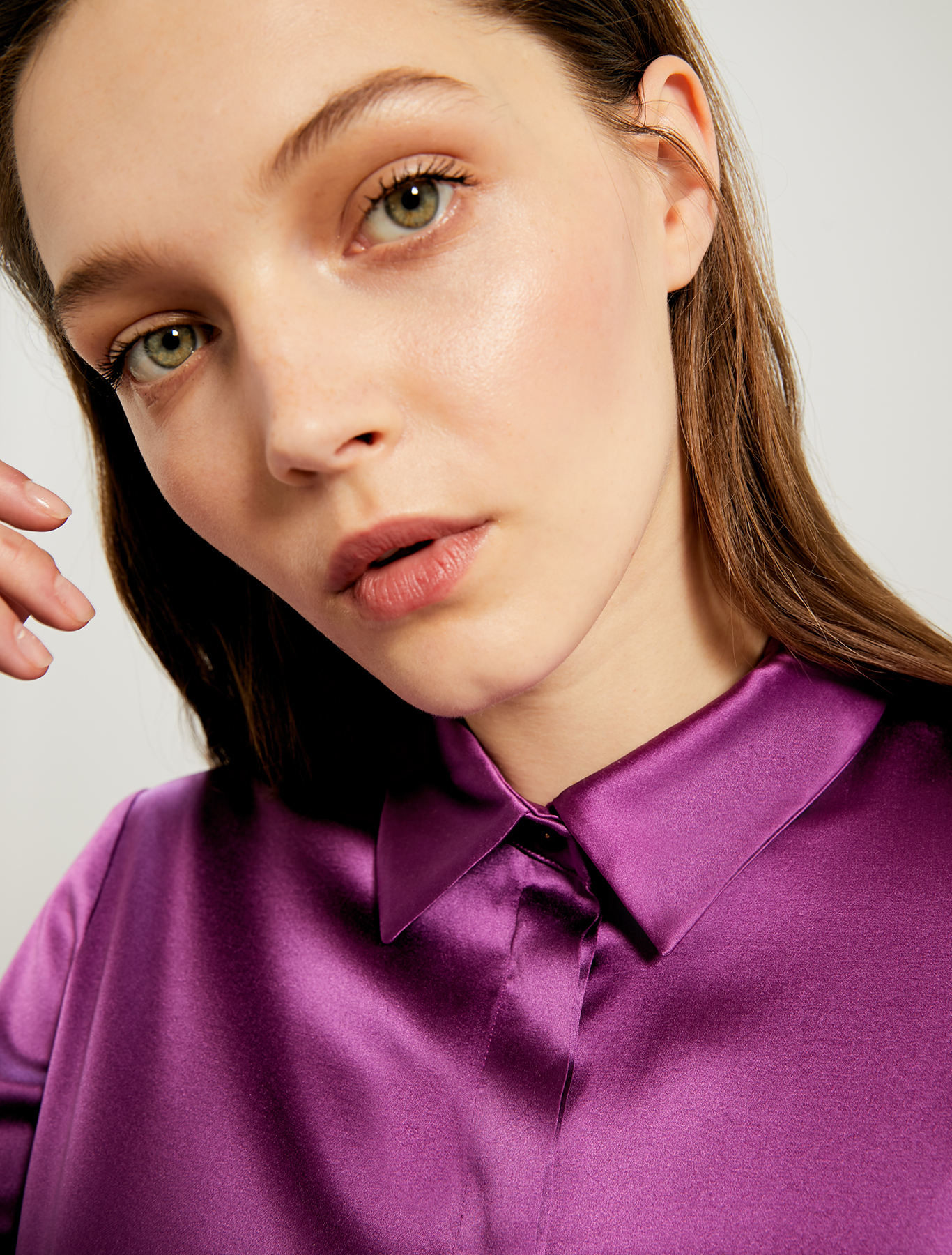 Silk satin shirt - purple - pennyblack