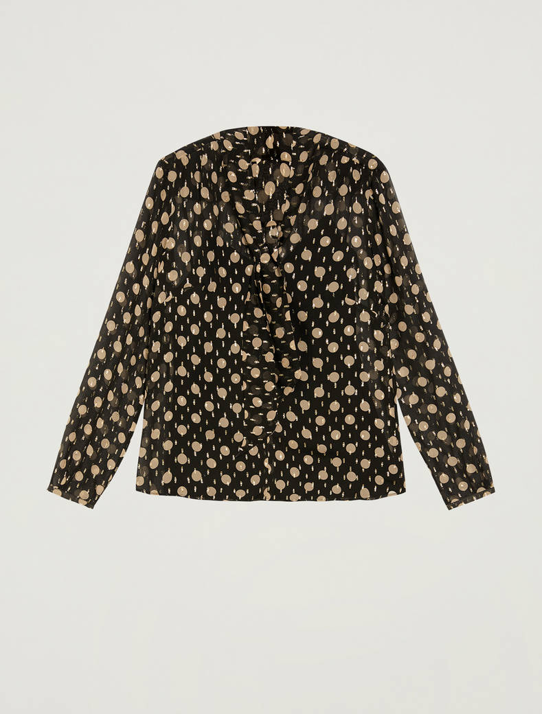 Lamé silk blouse - black pattern - pennyblack