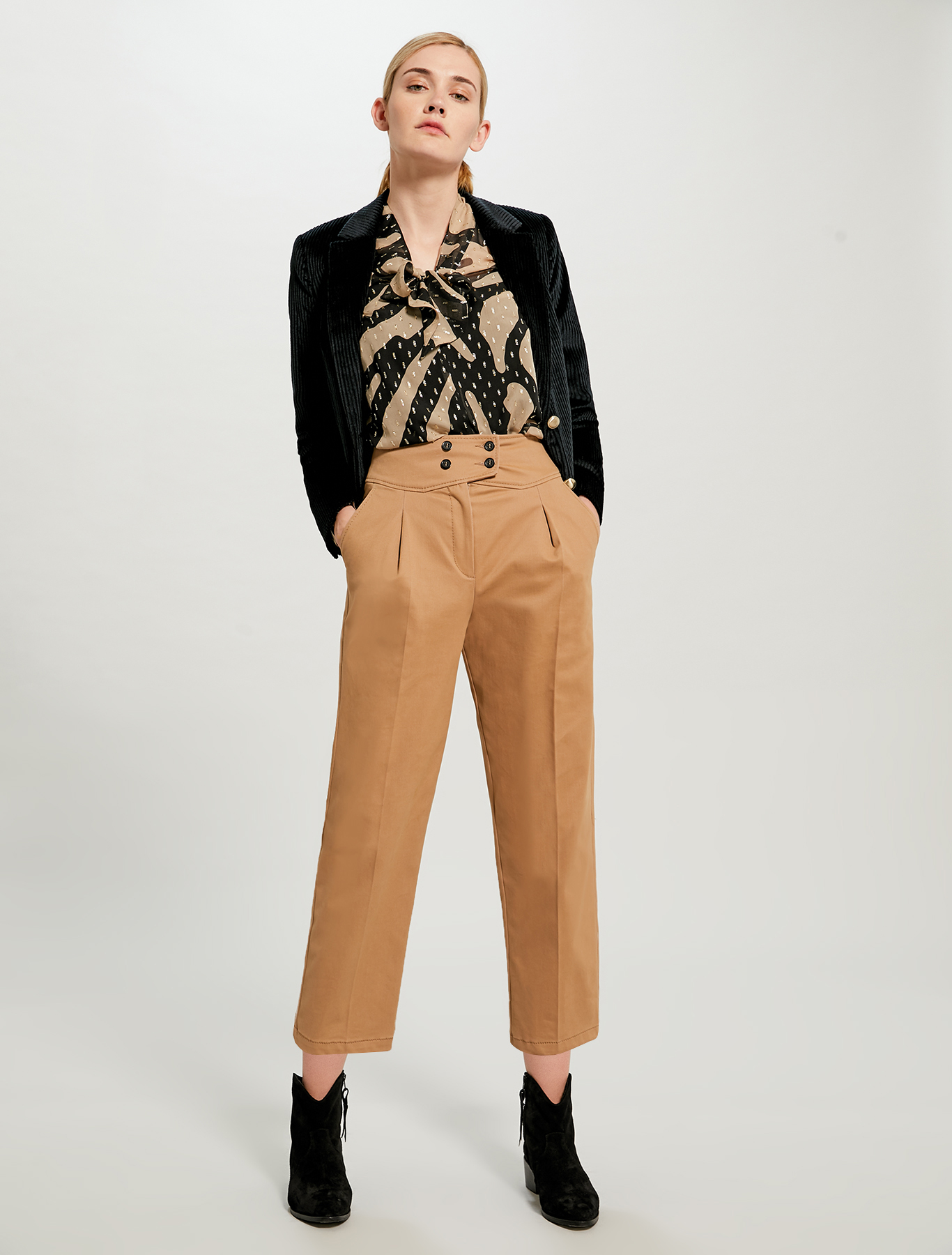 Lamé silk blouse - camel pattern - pennyblack