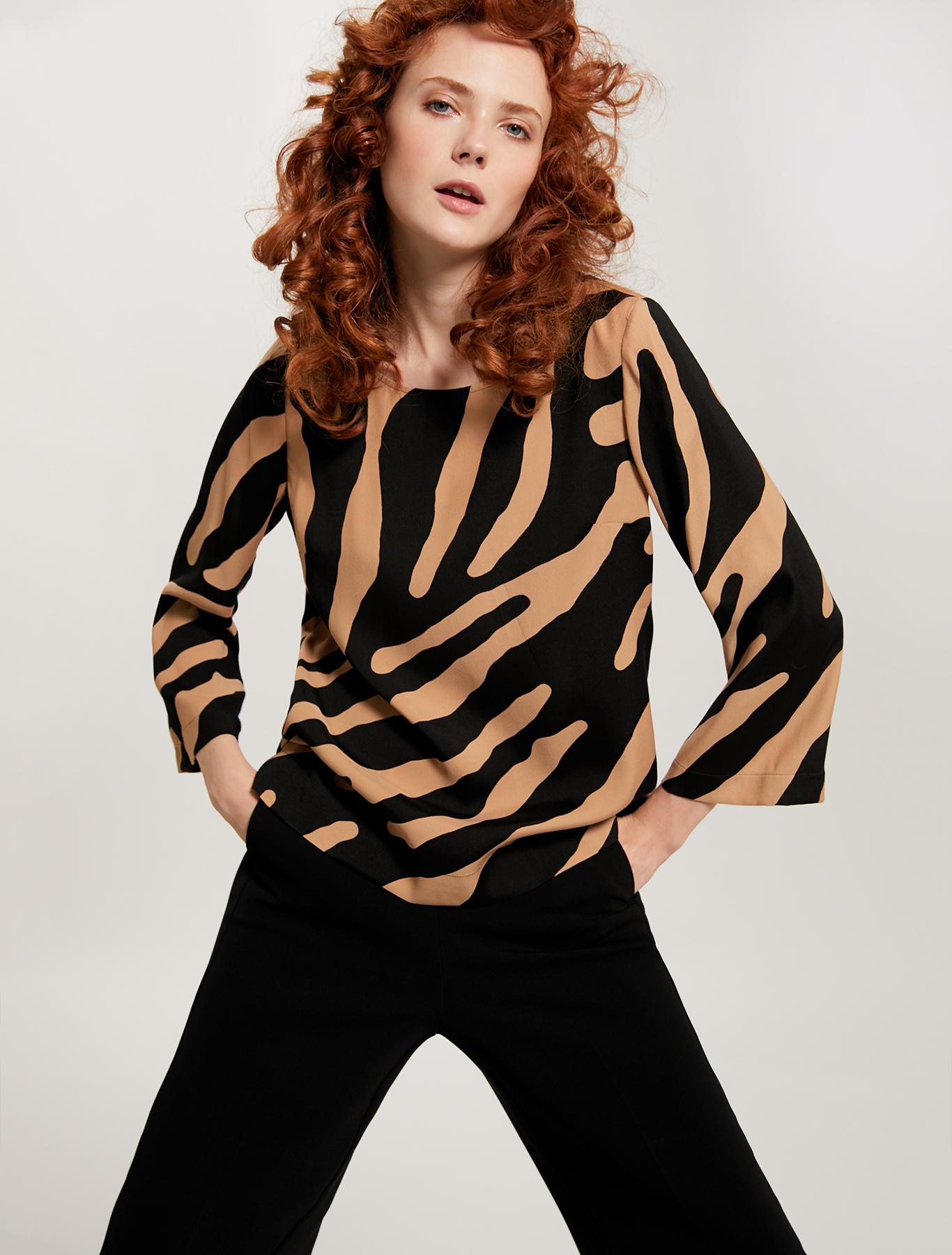 Printed sablé blouse - camel pattern - pennyblack