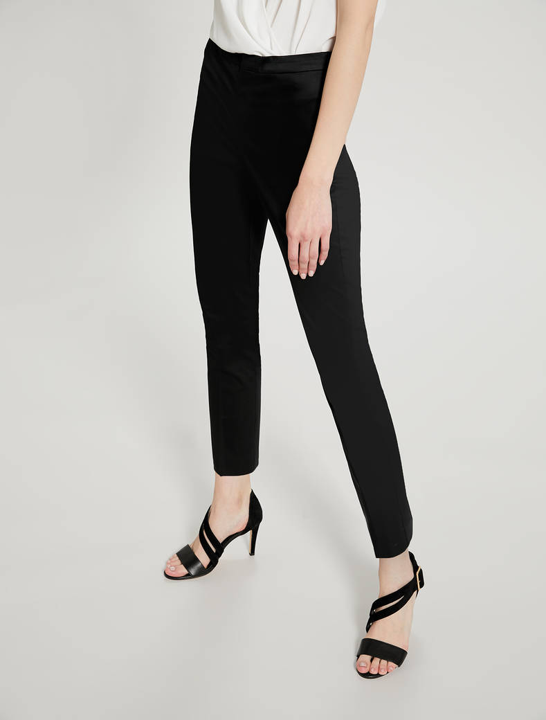 Skinny cotton satin trousers - black - pennyblack