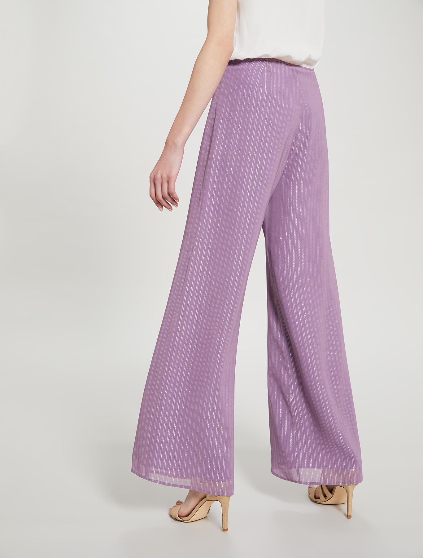 Lamé chalk-stripe palazzo pants - lilac pattern - pennyblack