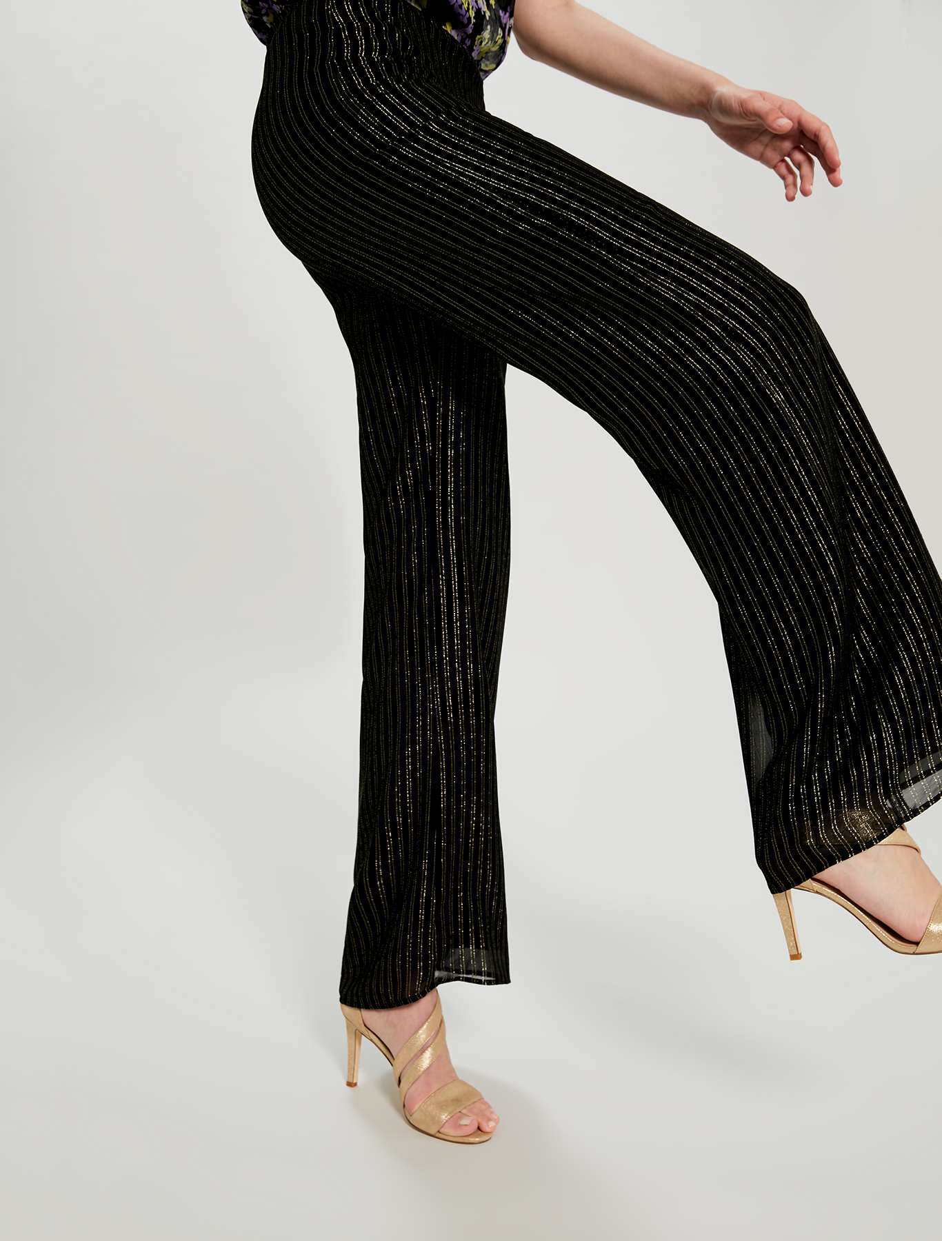 Lamé chalk-stripe palazzo pants - black pattern - pennyblack