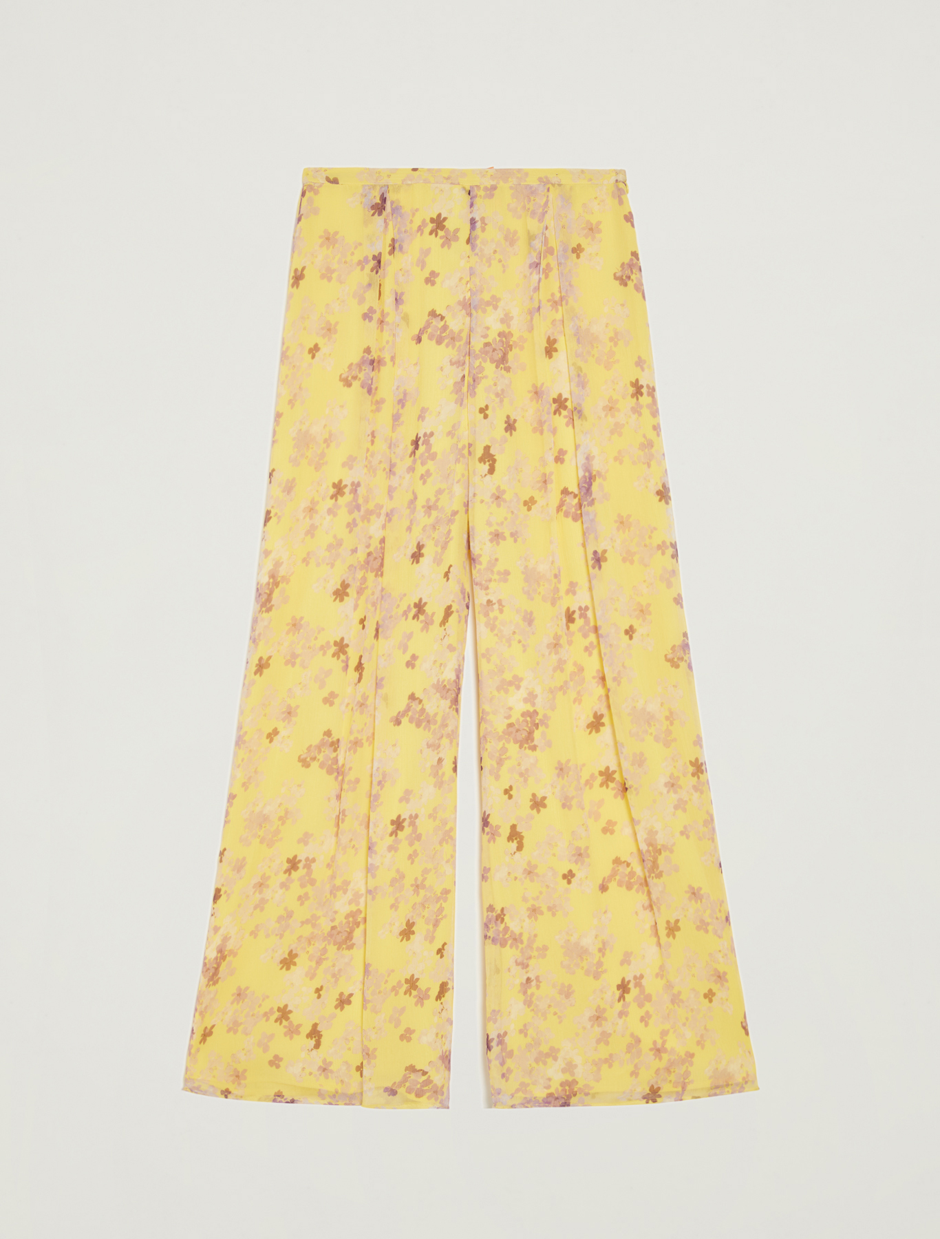 Floral palazzo pants - soft yellow pattern - pennyblack