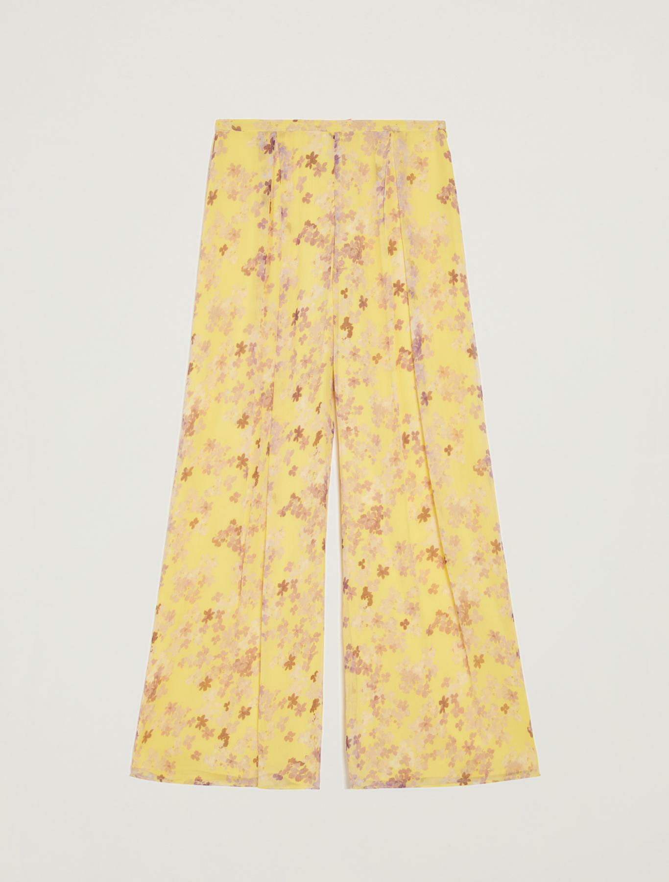 Floral palazzo pants - soft yellow pattern - pennyblack