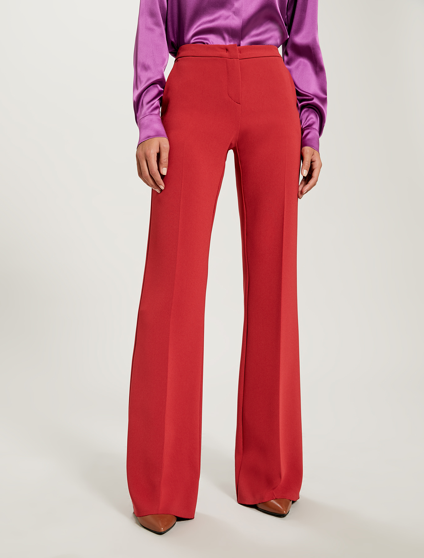 Floaty wide-leg trousers - red - pennyblack