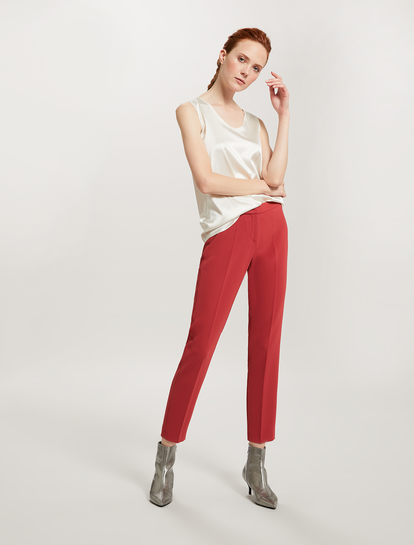 Slim fit fluid trousers - red - pennyblack
