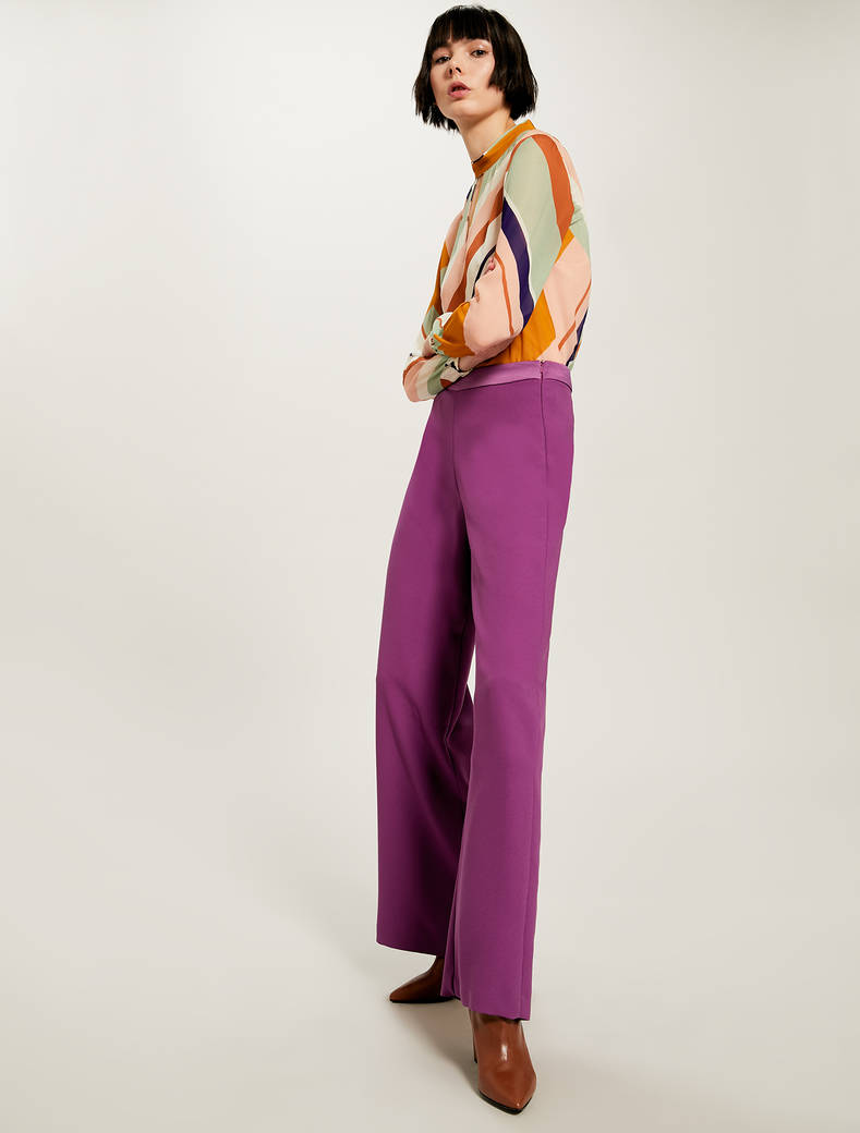Wide envers satin trousers - purple - pennyblack