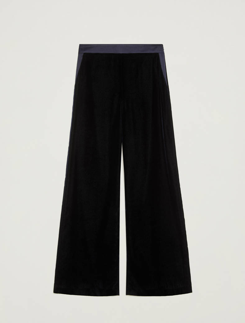 Smooth velvet trousers - navy blue - pennyblack