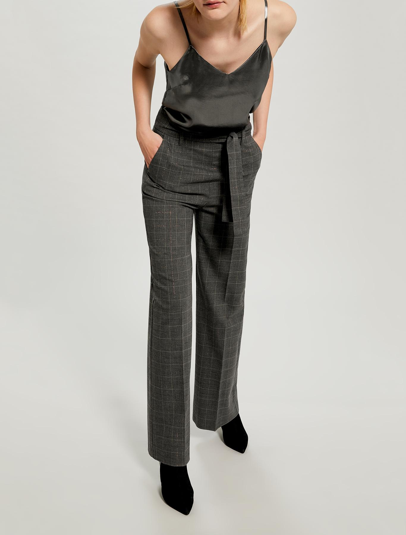 Pantaloni ampi a disegno lamé - fantasia grigio scuro - pennyblack
