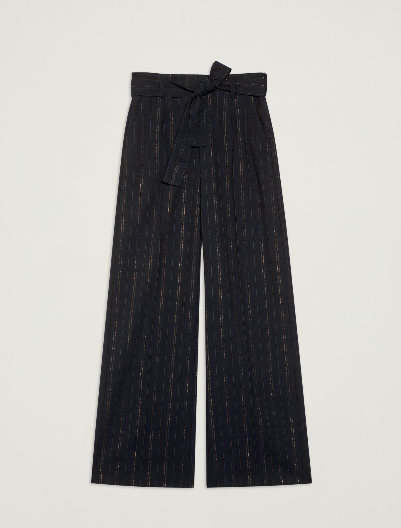 Wide leg trousers with lamé design - navy blue pattern - pennyblack