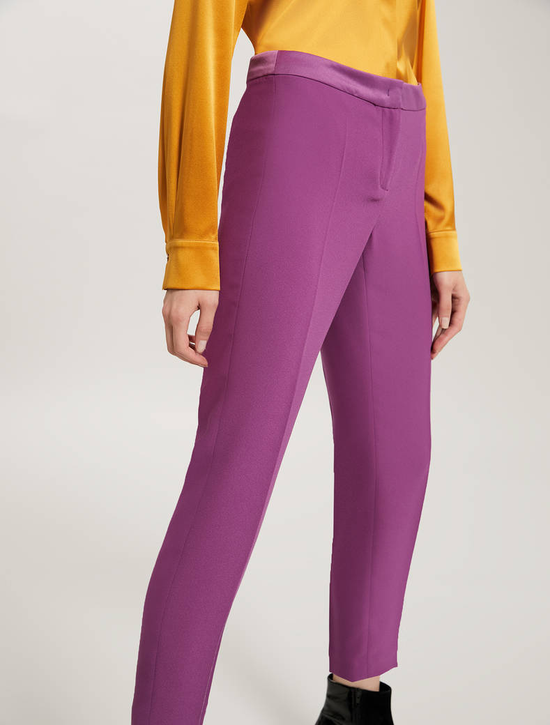Slim fit envers satin trousers - purple - pennyblack