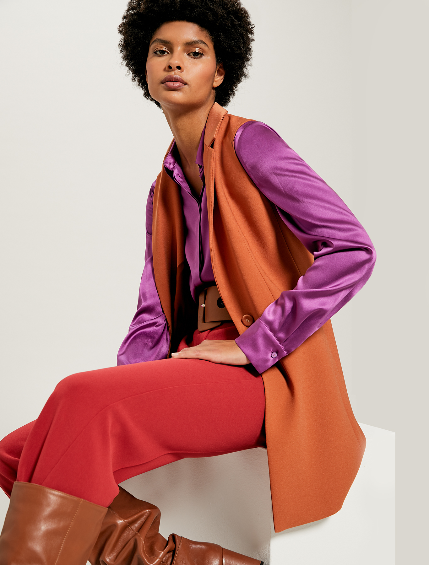 Waistcoat blazer with satin details - hazelnut - pennyblack