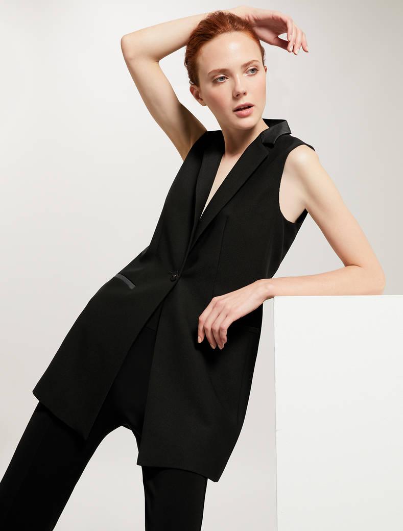 Waistcoat blazer with satin details - black - pennyblack