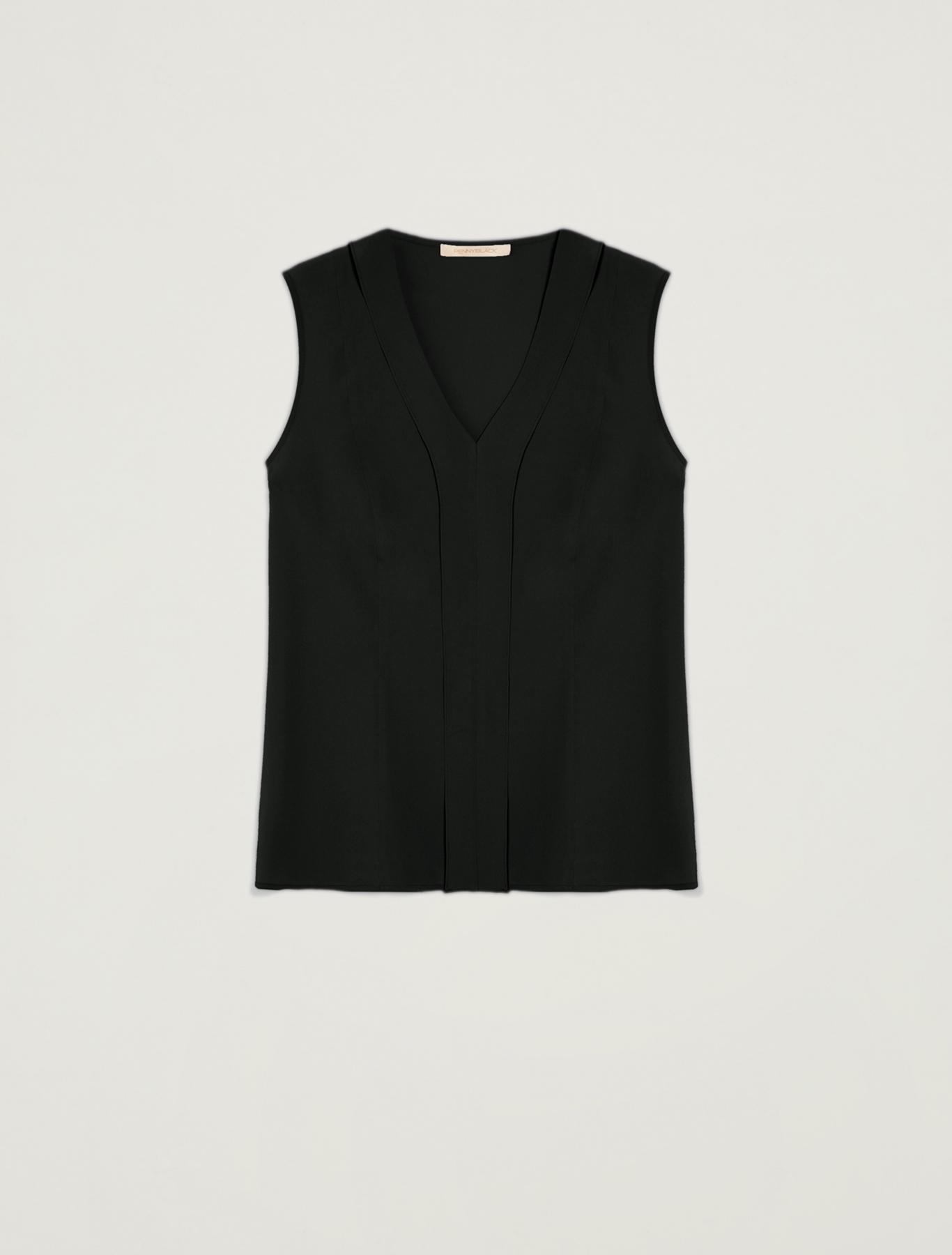 Slim-fit flounce top - black - pennyblack