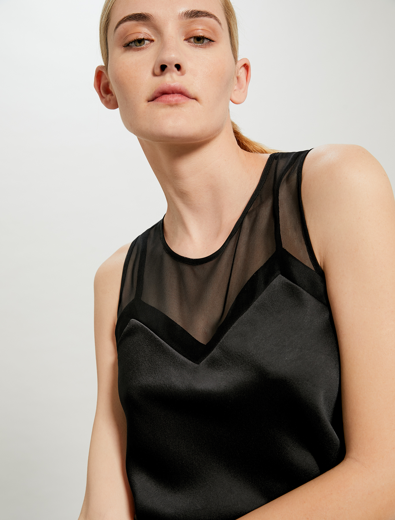 Top in satin and tulle - black - pennyblack