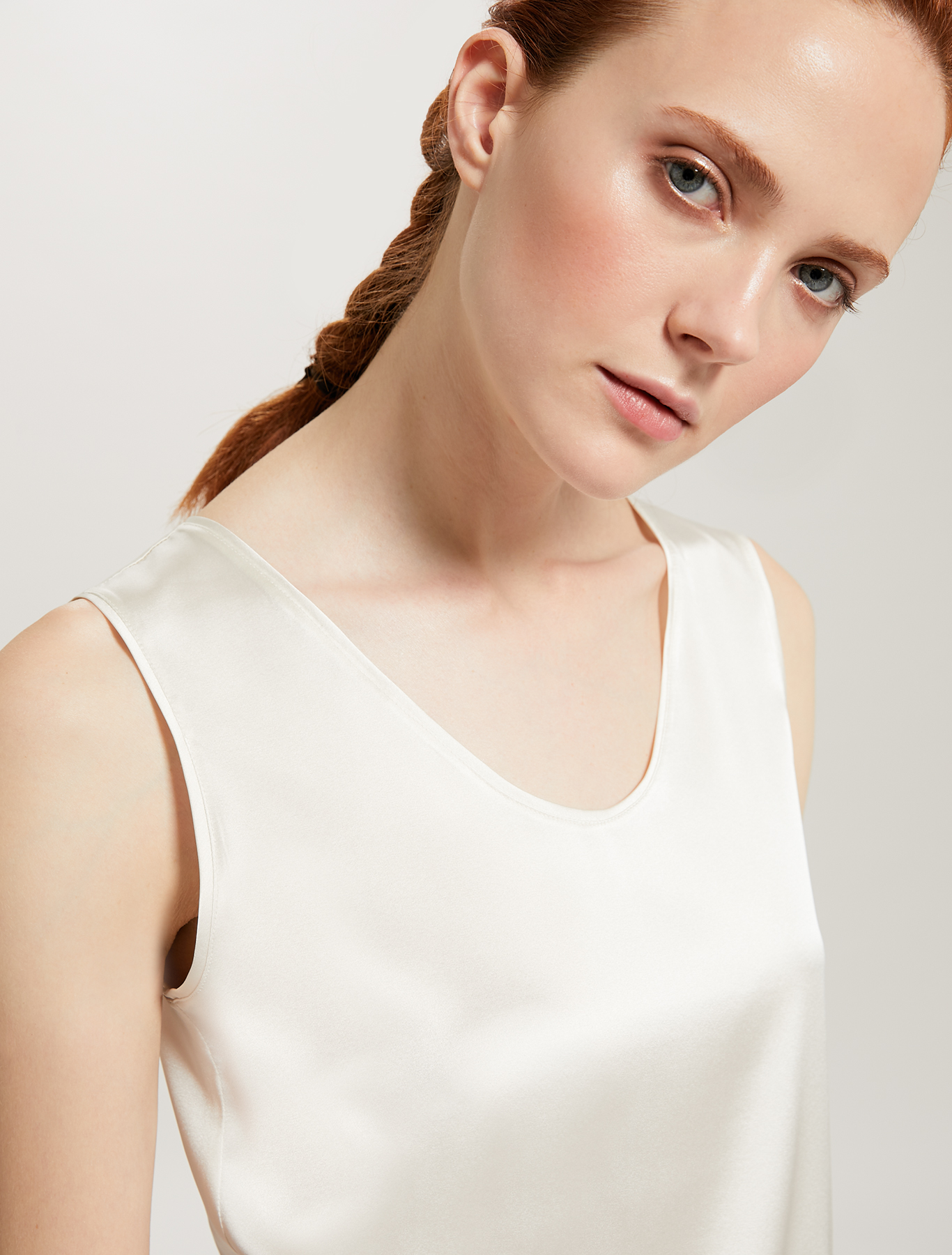 Silk satin top - ivory - pennyblack