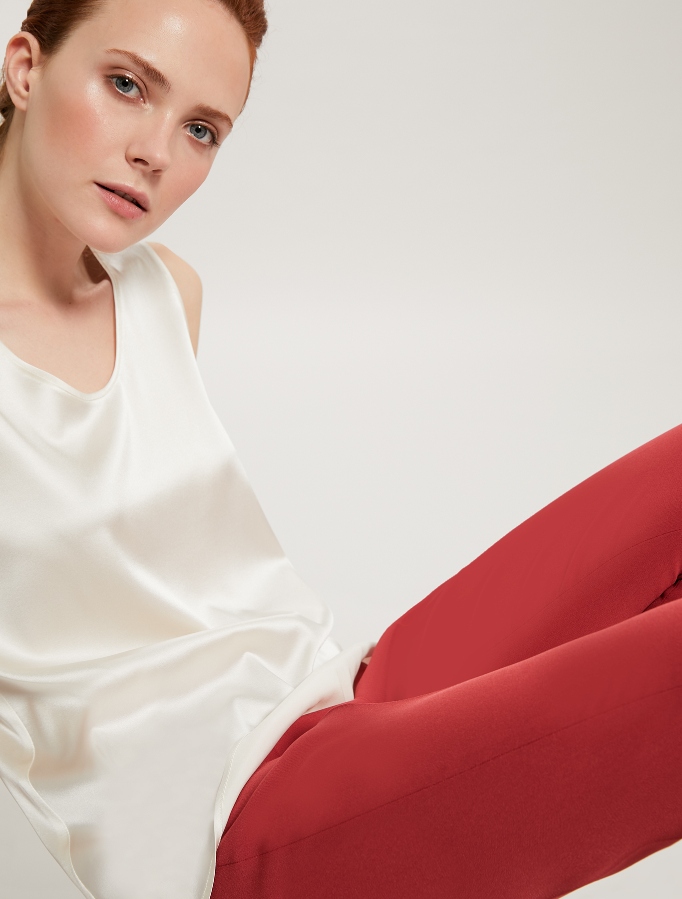 Silk satin top - ivory - pennyblack